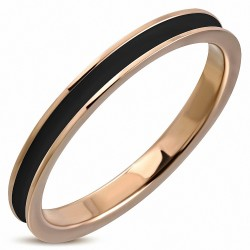 2.5mm  Bague jonc de mariage émaillé noir 2 tons en acier inoxydable plaqué de couleur or rose / rose