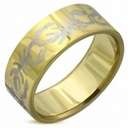 8mm |Bague en bande plate avec signe du zodiaque Scorpion en acier inoxydable plaqué de couleur d'or