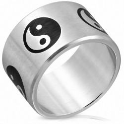 Ytone YinYang / Le symbole Tao / Bague large bande plate en acier inoxydable avec finition matte