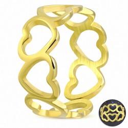 Bague fantaisie en argent avec coeur ouvert en acier inoxydable plaqué or