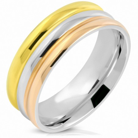 8mm |Bague de mariage demi-ronde à rayures rainurées tricolores en acier inoxydable, coupe confortable