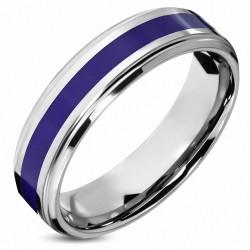 7mm |Bague de demi-tour demi-tour confortable en fit de carbure de tungstène violet / violet à rayures émaillées