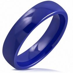 6mm |Bague demi-ronde à la coupe confortable en céramique bleu royal