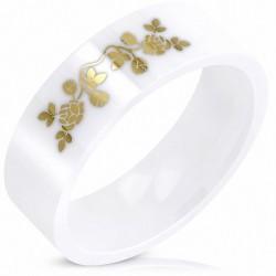 8mm |Bague en céramique à la coupe confortable et ajustée avec vigne en fleur blanche