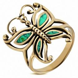Fashion BezelSet - Bague en bronze avec pierre turquoise
