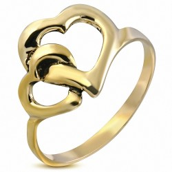 Bague fantaisie en bronze avec double coeur tordu ouvert