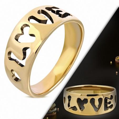 Bague fantaisie en bronze avec monogramme fantaisie amour coeur découpé