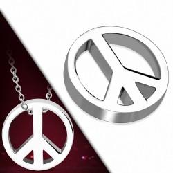 Pendentif avec charm de signe de paix en acier inoxydable