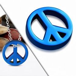 Pendentif Charm Signe de la Paix en Acier Inoxydable Bleu