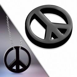Pendentif charm signe de la paix en acier inoxydable noir