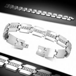 Bracelet à maillons en acier inoxydable avec clé grecque 81