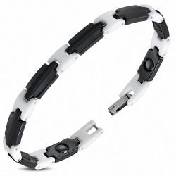 7.5mm |Bracelet magnétique à maillons en céramique 2 tons