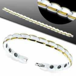7mm |Bracelet magnétique à maillons Panther en céramique blanche à bors dorés