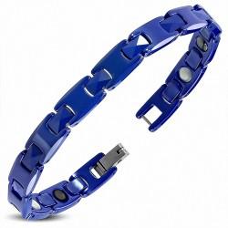 L-17cm W-8mm |Bracelet à maillons en céramique bleue avec maillons de panthère