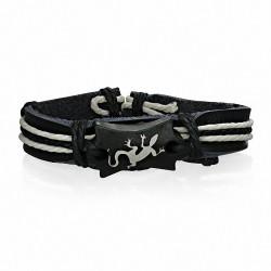Bracelet style montre en cuir noir avec corde noire blanche et Lézard