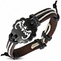 Bracelet de style montre en cuir avec corde et chauve-souris en os