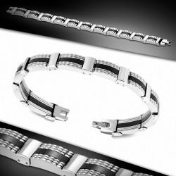 Bracelet à maillons panthère en acier inoxydable avec caoutchouc noir 119