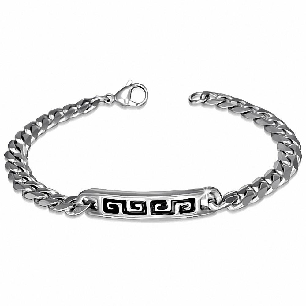 Bracelet style gournette avec clé grecque noire en acier inoxydable 1