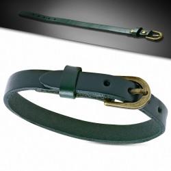 Bracelet en cuir véritable vert avec boucle de ceinture