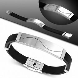 Bracelet en caoutchouc noir avec montre en acier inoxydable style puzzle
