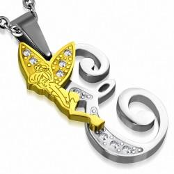 Pendentif en acier inoxydable Ange gardien fée minuscule dorée sur lettre E argentée avec strass