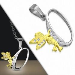 Pendentif en acier inoxydable Ange gardien fée minuscule dorée sur lettre O argentée avec strass