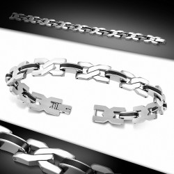 Bracelet à maillons en acier inoxydable avec maillons  hommes en caoutchouc noir torsadé torsadé