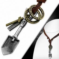 Alliage alliage bague pelle tag charm réglable en cuir brun collier