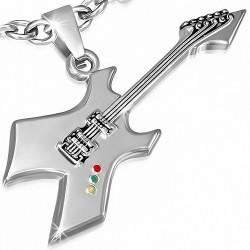 Pendentif en alliage instrument de musique guitare électrique 6 argentée