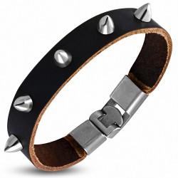 Bracelet à bascule en cuir marron avec boutons fantaisie
