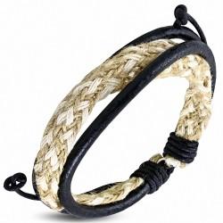Bracelet ajustable en cuir noir avec corde blancheet sisal tressés