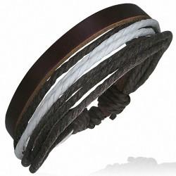 Bracelet ajustable en cuir chocolat avec corde chocolat et blanche