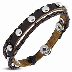 Bracelet en cuir marron à boutons pression ronds tressés  avec cordons multiples