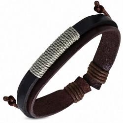 Bracelet ajustable en cuir avec 3 cordes et cordons