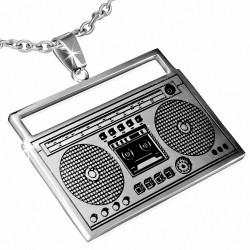 Pendentif avec charm de radio classique en acier inoxydable 2 tons