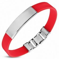 Bracelet 2 tons en caoutchouc rouge avec montre à graver en acier inoxydable