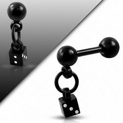 Breloque chanceux à deux tons en acier inoxydable anodisé noir Dangle Dangle Tragus / Cartilage |Balle 4mm |G-1.2mm