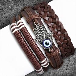 Ensemble de bracelets en cuir chocolat ajustable et breloque mauvais œil