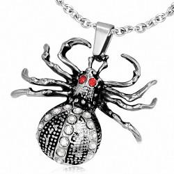 Pendentif motard avec breloques araignées pavé de yeux rouges et yeux rouges en acier inoxydable