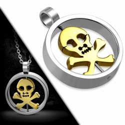 Pendentif en forme de cercle de tête de crâne de pirate avec os croisé en acier inoxydable