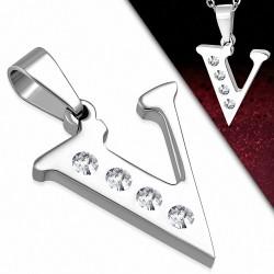 Pendentif Alphabet V en acier inoxydable avec sertissage