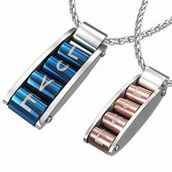 Pendentifs Couple rouleaux d'amour Love 1 argenté/bleu et 1 argenté/rosé en acier inoxydable