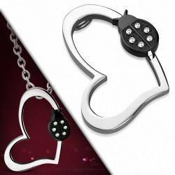 Pendentif à emprisonnement invisible coeur ouvert en acier inoxydable et coccinelle noire