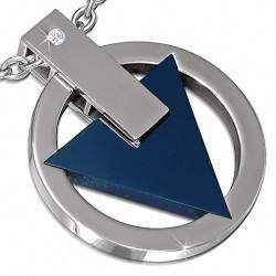 Pendentif en forme de cercle avec triangle bleu captif en acier inoxydable et gemme