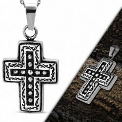 Pendentif avec croix latine à deux tons en acier inoxydable avec spirale et bord en spirale