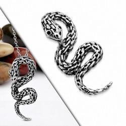 Pendentif motard serpent spirale bicolore effet chaine en acier inoxydable
