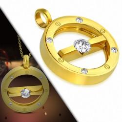 Pendentif cercle tressé en acier inoxydable doré gemme