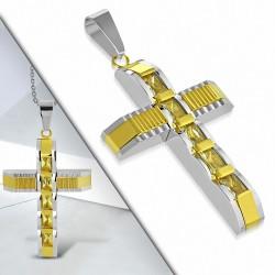 Pendentif croix géométrique argentée acier inoxydable avec baguettes dorées et gemme