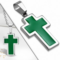 Pendentif croix latine en acier inoxydable argenté et émaillé vert