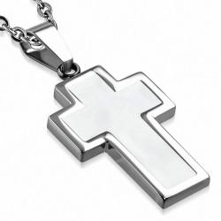 Pendentif croix latine en acier inoxydable argenté et émaillé blanc